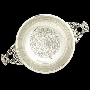 "NEW 5"" Pewter Quaich with Knotted Celtic Design"